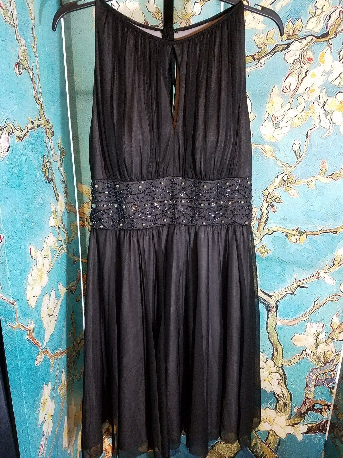 NWT Jessica Howard Beaded Fit & Flare Dress Halter Dress, Size 10, Retail  150