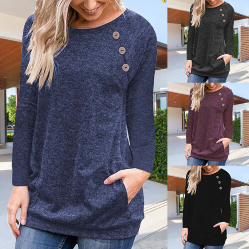 Women Long Sleeve Crew Neck Tops Blouse Jumpers Casual Loose Shirt Pullover