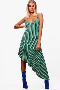 560a310dacbd Image is loading Boohoo-Aiyla-Stripe-Asymmetric-Frill-Hem-Midi-Dress-