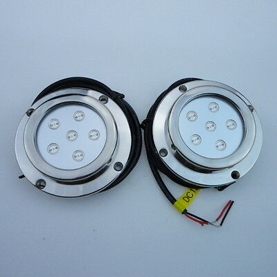 2 Pieces 6W BLUE Color Stainless Steel Underwater  Boat Marine LED Light