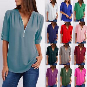 Womens-Plain-Pullover-Zipper-Shirt-Long-Sleeve-Blouse-Chiffon-Ladies-Loose-Tops