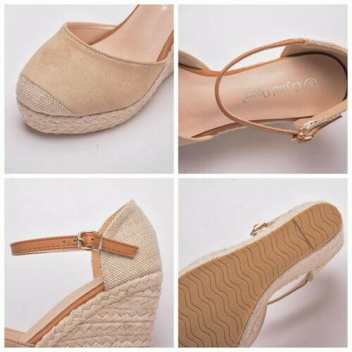 Womens High Wedge Heel Summer Sandals Strappy  Shoes Closed Toe Casual Plus Size