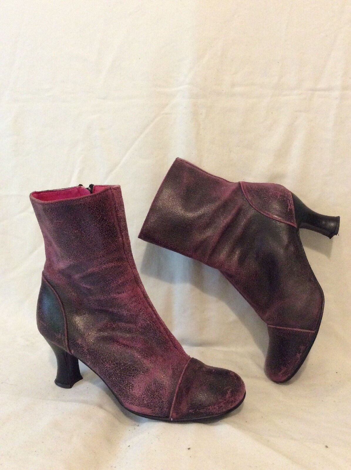 Schuh Burgundy Ankle Leather Boots Size 38