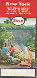 Map Of New York Finger Lakes.Details About 1956 Esso Standard Oil Road Map New York Finger Lakes Westchester Albany Buffalo