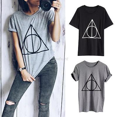Women Geometric Short Sleeve Loose Top Casual T-Shirt Summer Crew Neck Tee Shirt