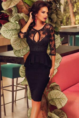 Abendkleid Partykleid Peplum Schößchen kleid Cocktailkleid Spitze Festlich S M L