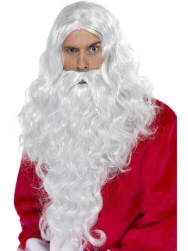 long de luxe Santa PERRUQUE /& BARBE ensemble Noël Père Noël déguisement