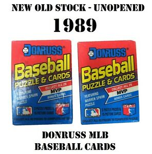 2-PACKAGES-OF-VINTAGE-1989-DONRUSS-MLB-BASEBALL-PUZZLE-AND-CARDS-UNOPENED-NOS