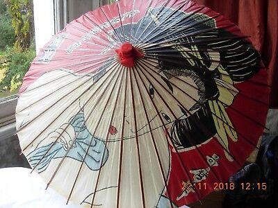 """Antico Giapponese Parasole Carta E Bambù Dipinti A Mano In Foto 42""""-mostra Il Titolo Originale Elegante Nell'Odore"""