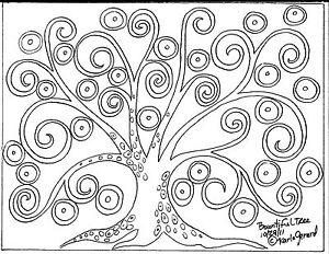 RUG-HOOK-Crafts-PAPER-PATTERN-Bountiful-Tree-FOLK-ART-Abstract-Primitive-KARLA-G