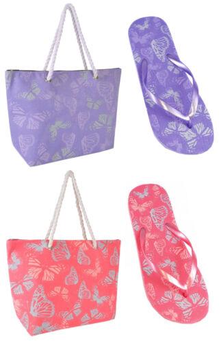 Ladies Butterfly Design Flip Flops or Beach Bag