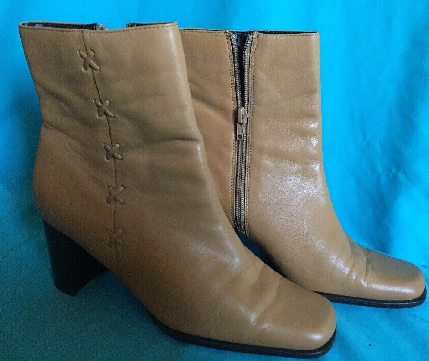 Worthington Cognac Leather Mid-Calf Fashion Chunky Heel Boots 8M Zip/Stitch
