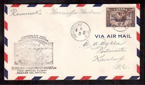 CANADA-1936-FIRST-FLIGHT-COVER-C4-CATALOG-20-RIMOUSKI-HARRINGTON-HARBOUR