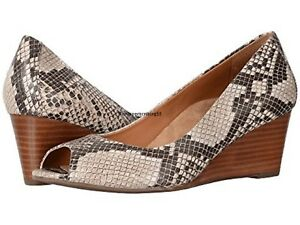 5d972404b63 VIONIC  PROUD BRIA  Natural Snake Leather Peep-Toe Wedge Sz. 11 WIDE ...