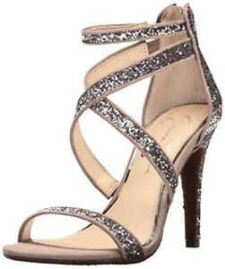 b39cdaafb5da27 Details about Jessica Simpson Ellenie2 Moon Grey 7.5 Silver Multi Chunky  Glitter Suede Sandals