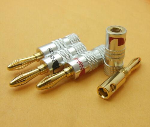 2PCS R/&B Aluminum Nakamichi Gold Plated Speaker 4mm Banana Male Plug Audio DIY