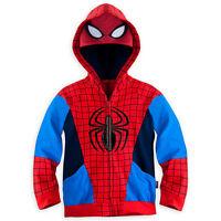 Disney Store Marvel Spiderman Costume Zip Front Hoodie Sweat Shirt Boy 5/6 7/8