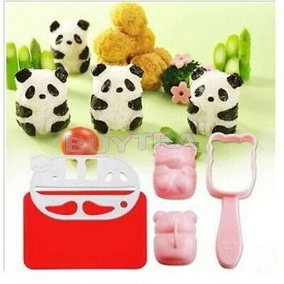 WK BENTO Accessories Rice Ball Mold Mould With Nori Punch Sushi PANDA Shape AU 4