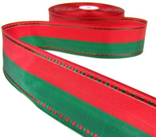 "5 Yd Christmas Red Green BiStripe Stitch Edge Wired Ribbon 1 1//2/""W"