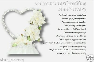 Personalised Poem PEARL WEDDING ANNIVERSARY GIFT