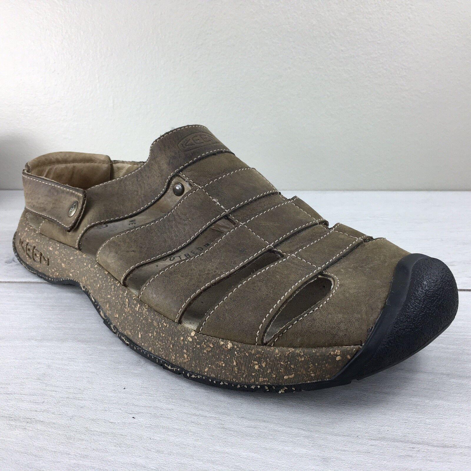 Mens Brown Leather Keen Hiking Camp Sandal Size 10 Camp Hiking Walking Comfort Casual 33eeca