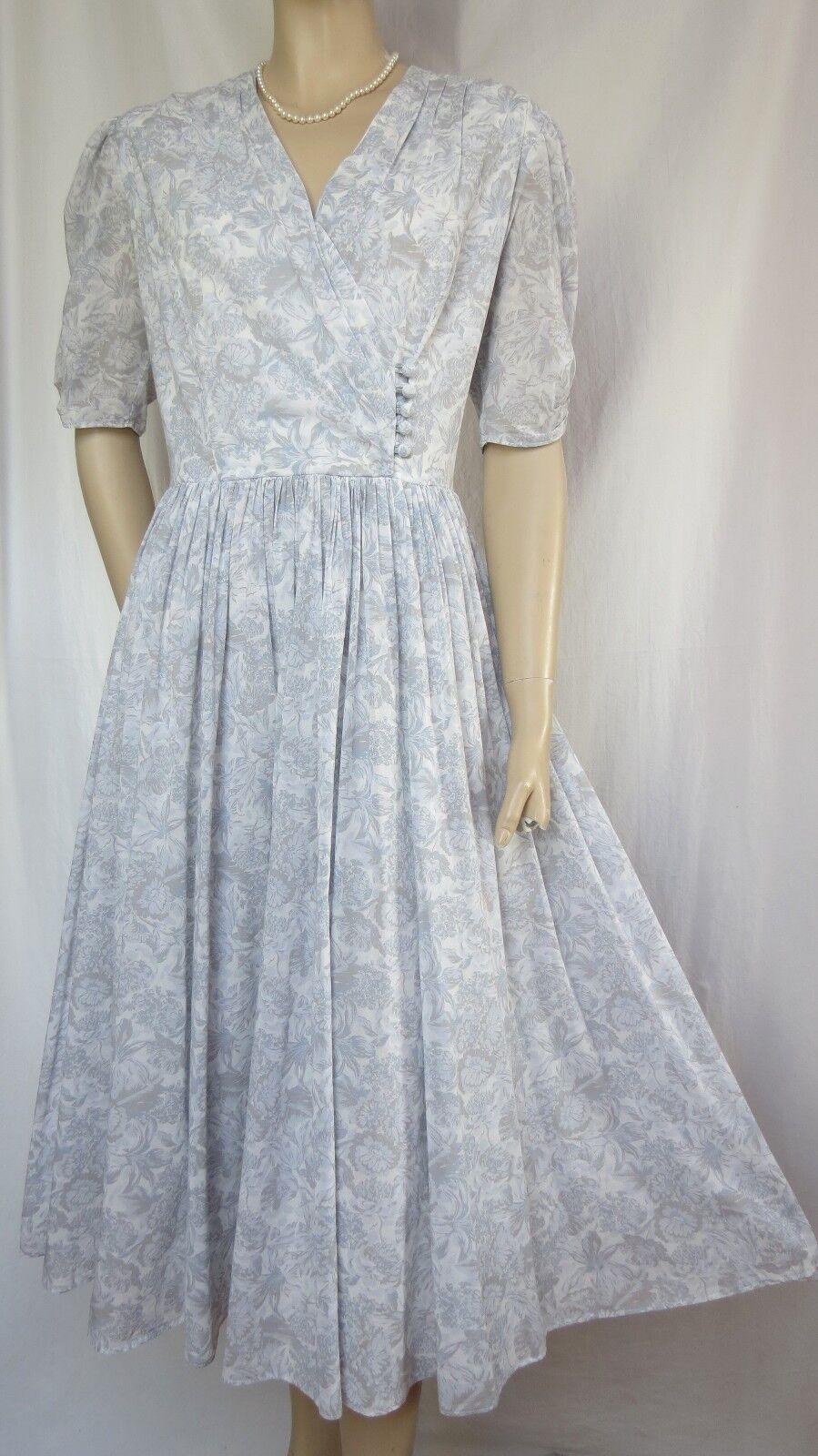 50ef70ea9a6b1c Laura Ashley Kleid 36 blau Blumen Baumwolle Hochzeit Sommer grau vintage  npqsku8043-Kleider