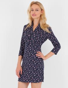Neuf Pour Femme Bleu marine boutonné à manches longues Petit Imprimé Floral Robe UK 6-14