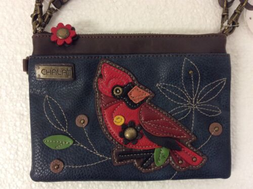 NEW Chala Handbag Mini Crossbody Bag Small Convertible Purse Red Cardinal Bird