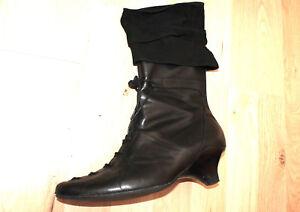 LISA-TUCCI-schwarze-Stiefeletten-Biedermeier-Schuhe-37-UK-4-Leder-Stulpen-ZLZL