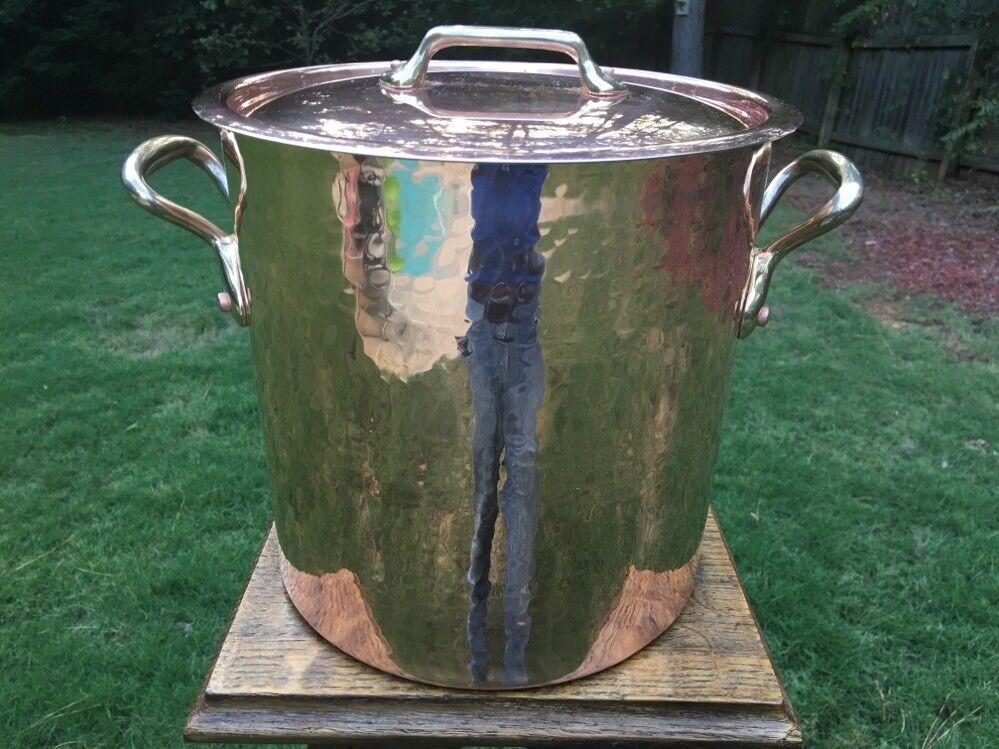 Mauviel 9.5  vintage Made n France Cuivre Casserole Tin Revêtement Couvercle Bronze Poignées