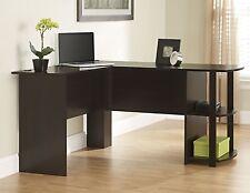 Corner Desk for Home Office Brown L Shaped Workstation Computer Table Dorm Shelf