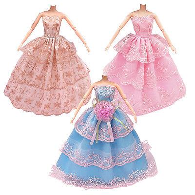 3x Fashion Handmade Dolls Clothes Wedding Party Dress For Barbie Dolls Girl Gift