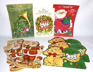 Vintage-Lot-Hallmark-Punch-Out-Press-Out-Decorations-Xmas-Santa-Cats-NOS-70s-80s