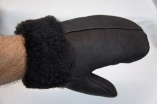 REAL GENUINE SHEEPSKIN SHEARLING LEATHER MITTENS UNISEX Fur Winter GLOVES S-2XL