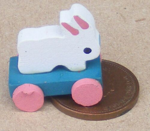 1:12th escala Tire a lo largo de conejo de madera sobre ruedas Vivero de Casa de Muñecas Juguetes para mascotas