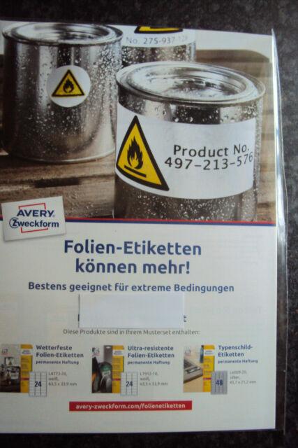 AVERY Zweckform L4773 L7912 L6009 wetterfeste Folien Typenschild Etiketten NEU