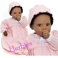 Lee Middleton Dolls Angel Love 19 Baby Girl Doll, Dark Skin Brown Hair