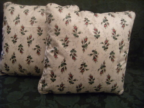 "DOUBLE SIDED! WINDSOR ROSEBUD BY DESIGN EDITION 1 PAIR OF 18/"" CUSHION COVERS"