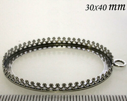 8392 Quality Cast 40x30mm Oval Bezel Cup Antique Oxidized 925 Sterling Silver