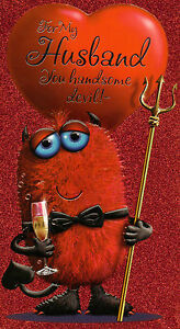 Husband Valentines Day Card Cute Valentine S Horny Handsome Devil