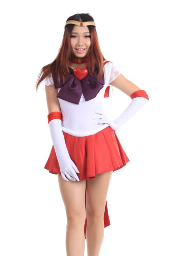 Sailor Moon SuperS Cosplay Costume Sailor Mars Hino Rei Purple Collar Bowknot
