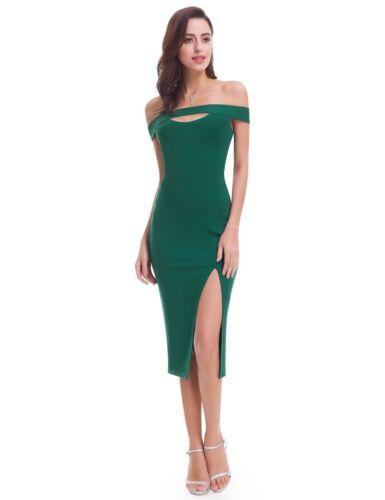 Ever-Pretty Women/'s Split Off Shoulder Slit Bodycon Cocktail Party Dress 05779