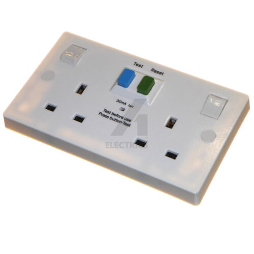 RCD twin wall socket 30mA trip double switched 2 gang 13 amp life saving sockets