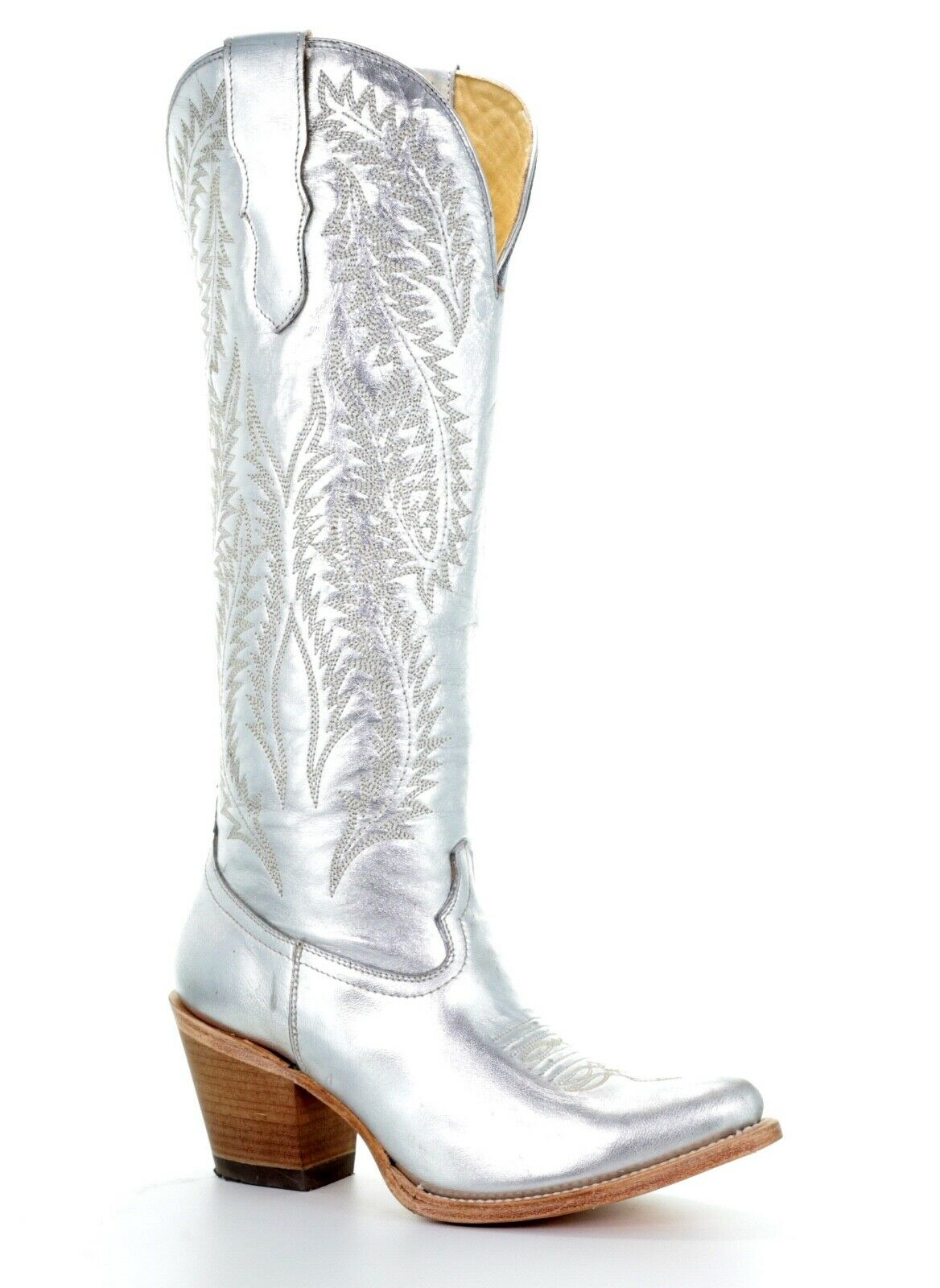 Corral Ladies Silver Metallic Embroidery Tall Knee-High Boots E1321