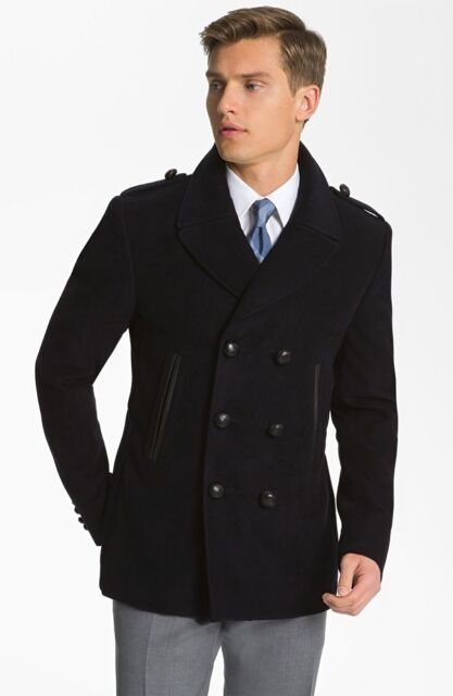Burberry London Leather Trim Moleskin Double Breasted Black Coat Jacket $1,400+t