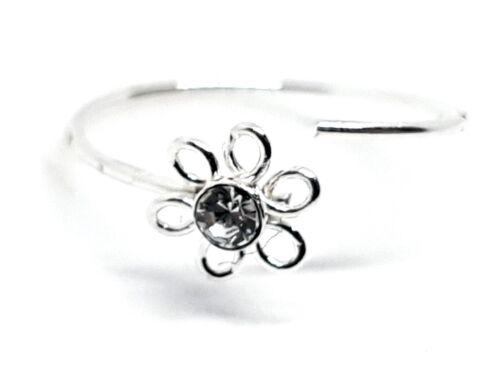 10mm Silber Spaltring 0.6mm Nasen Ring Filigraner Blumen Zirkonia 22g
