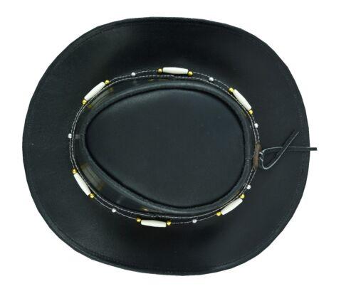 Clásico de Cuero Vaquero Occidental Estilo Negro Sombrero Sombrero ESTILO AUSTRALIANO Reino Unido Stock