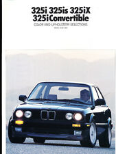 1989 BMW 3-Series Color paint and upholstery Guide Brochure - 325i 325iX 325is
