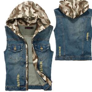 4c89835d070 Men s Denim Vest Jacket Coat Waistcoat Sleeveless Camo Hoodie Slim ...