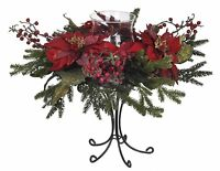 House Of Silk Flowers Artificial Red Poinsettia/berry/pine Single Candle Holder